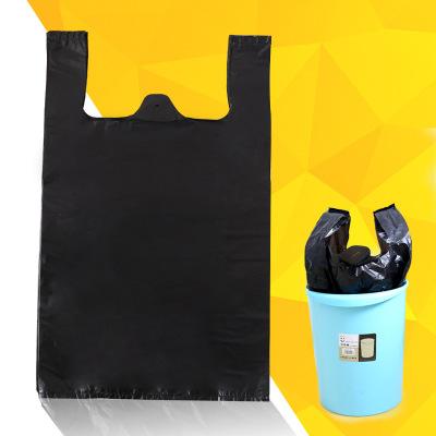 亦本净 50只32*52CM中大号黑色手提背心式垃圾袋一次性加厚塑料袋