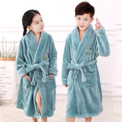 童裝兒童睡袍男童女童秋冬季法蘭絨睡袍珊瑚絨家居服加厚款浴袍 臻澀