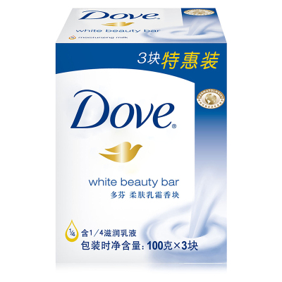多芬(Dove) 柔肤乳霜香皂 100g*3 【联合利华】