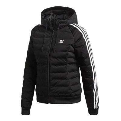 阿迪達斯(adidas)三葉草棉衣女裝新款運動保暖棉服連帽外套DH4587