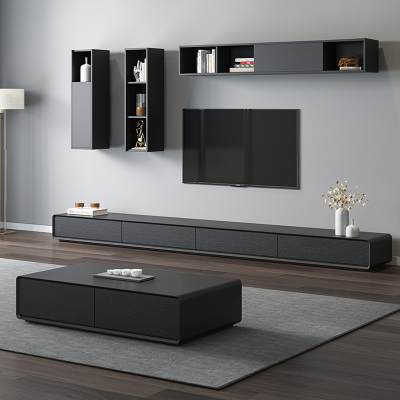 汐巖北歐現代簡約胡桃木電視柜茶幾組合小戶型客廳地柜墻壁柜套裝