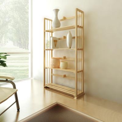 慧樂家 書柜書架 四層書架層架 簡約時尚木置物架 本色 FNCL-33002