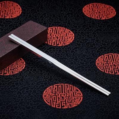 順慶銀樓999足銀 光面銀筷子純銀加厚家用自用餐具