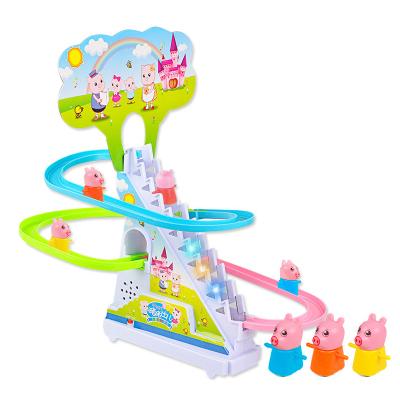 兒童中號電動小豬爬樓梯軌道玩具益智企鵝小火車滑梯電動軌道車玩具3-6歲