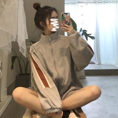 小香風外套女2019新款秋冬季寬松百搭加絨衛衣女加厚棒球服潮