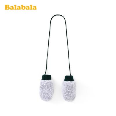 巴拉巴拉女童手套冬季新款加厚保暖加绒儿童可爱羊羔毛挂脖包指男