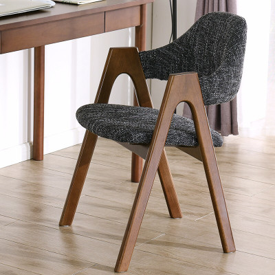 家逸 實木櫸木餐椅休閑椅電腦椅辦公椅咖啡椅北歐創意布藝椅子