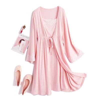 新款孕婦裝莫代爾孕婦睡衣時尚哺乳睡裙套裝月子服