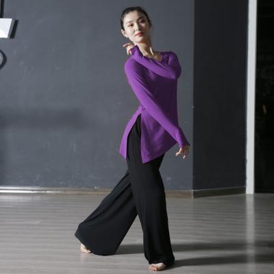 舞蹈服装练功服女秋冬款成人套指长袖上衣形体舞蹈教师练功服套装