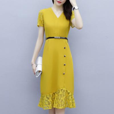 班俏BANQIAO魚尾裙連衣裙夏季女裝2020新款中長款小個子氣質顯瘦蕾絲雪紡裙子