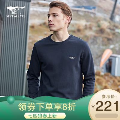 N七匹狼T恤男士2020秋季新款運動休閑圓領套頭衛衣