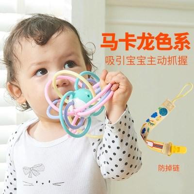 磨牙棒牙膠嬰兒咬咬樂寶寶玩具智扣咬膠硅膠軟12個月可水煮塑膠 手抓球+香蕉+草莓+防掉鏈+收納盒