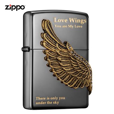 美國ZIPPO打火機 芝寶 愛情之翼 黑冰鍍黑鎳蝕刻填充徽章 煤油防風火機
