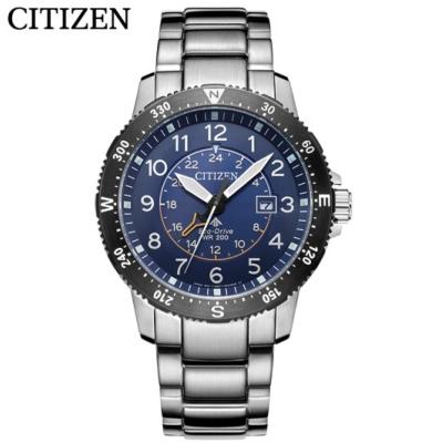 国内 西铁城(CITIZEN) 手表光动能深层防水雅致钢带休闲运动男表BJ7094-59L