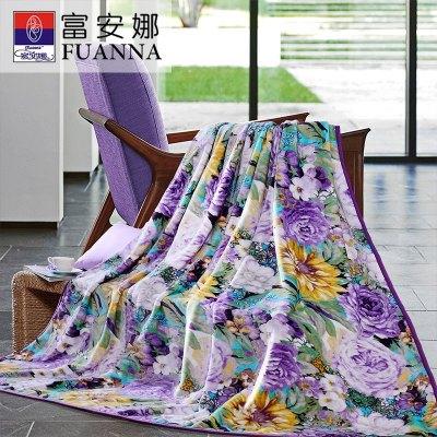 富安娜(FUANNA)家紡毛毯雙人毯子田園風1.8米床用秋冬蓋毯保暖舒柔毯繁花似錦