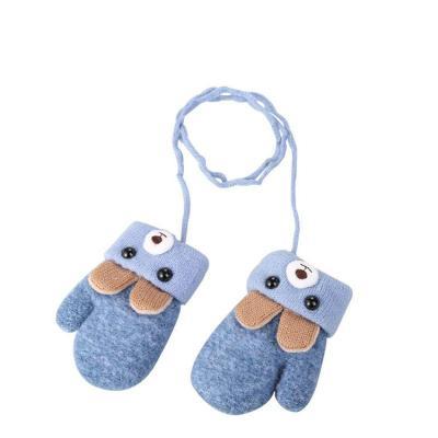 0-3岁可爱耳朵小熊卡通儿童手套冬季针织毛线双层加绒加厚保暖
