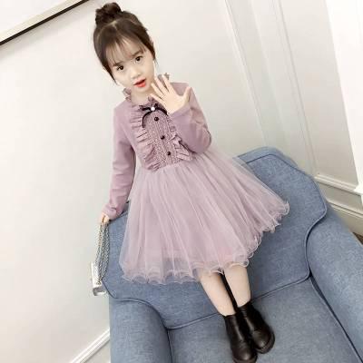 秋款女童連衣裙兒童秋季新款洋氣小女孩秋裝長袖公主裙子