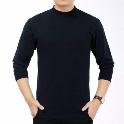 男士內衣秋衣單件中老年半高領棉毛衫常規款保暖上衣衫 衫伊格(shanyige)