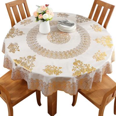 權夫人歐式燙金圓形桌布防水防燙防油免洗圓桌餐桌布pvc小圓幾桌墊家用