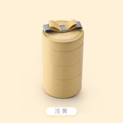 羊皮纹三层便携式首饰盒可爱多层饰品收纳盒pu绒饰品盒 浅黄色