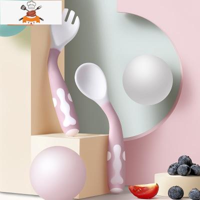 嬰兒勺子寶寶學吃飯訓練勺叉套裝嬰童餐具輔食碗彎頭軟勺 吸盤勺+筷子 敬平 吸盤勺+筷子