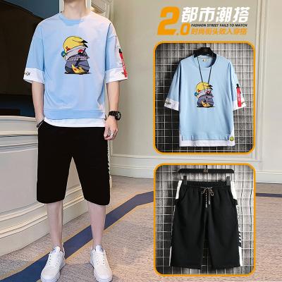 獅臣SHICHEN 夏季短袖五分褲兩件套男2020年新款時尚潮流百搭圓領五分袖T恤套裝休閑運動短袖套裝男裝