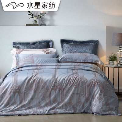 水星家紡 歐式大提花簡約四件套1.8米床上用品 玉塵/盧浮印象