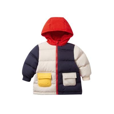 迷你巴拉巴拉嬰兒羽絨服男寶寶加厚衣服冬裝新款撞色羽絨外套