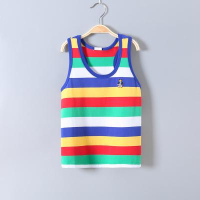 童裝夏裝男童純棉兒童背心中大童條紋寶寶彈力萊卡90-165cm