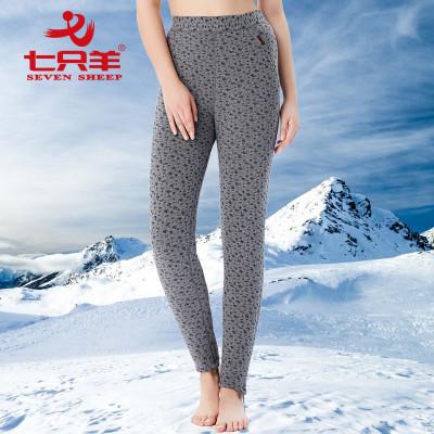 七只羊三层加厚羊毛棉裤高腰护膝保暖裤修身纯棉针织打底裤7826