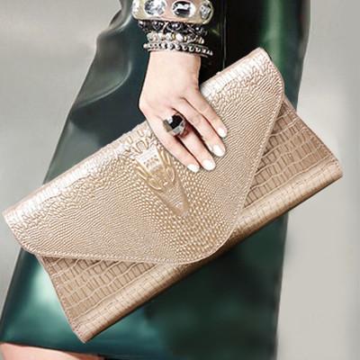 HENRY JACQUES女包JL-6031新款复古风鳄鱼纹手拿包欧美时尚轻奢高档牛皮包女士手包