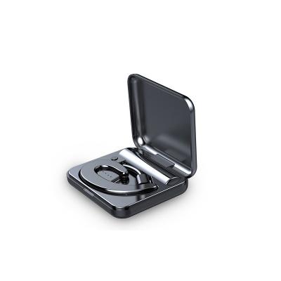 夏新S9不入耳藍牙耳機無線迷你超小掛耳式運動開車骨傳導概念耳機(炫酷黑耳機帶充電收納倉)