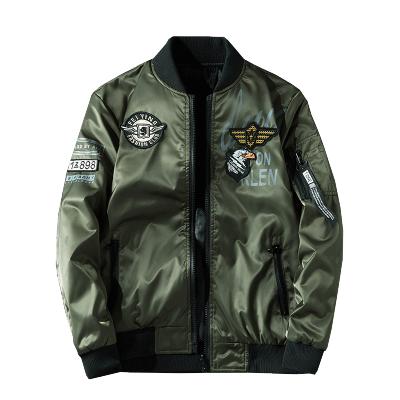木林森(MULINSEN)飞行员夹克男韩版刺绣棒球服薄款军装两面穿外套9988