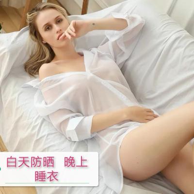 SHIZHEN四季睡衣女春秋雪紡性感情趣誘惑白襯衫女中長款2020新款透明睡裙長袖