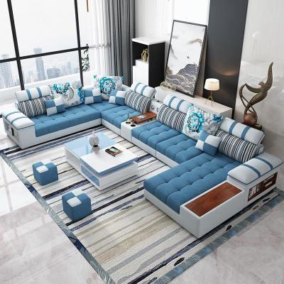 北欧布艺沙发简约现代客厅大小户型可拆洗皮布沙发组合整套装家具 双+边+单+贵妃3.4米【乳胶版】 【浅