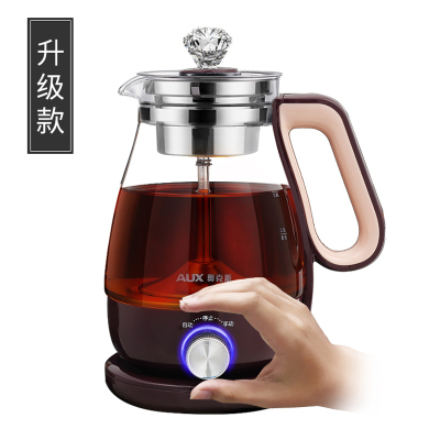奧克斯煮茶器HX-Z1001H蒸汽萃取 高硼硅玻璃 304不銹鋼 黑茶煮茶壺家用全自動蒸汽玻璃電熱花茶普洱蒸茶壺 升級款
