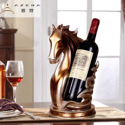 擺件歐式葡萄酒架 創意歐式紅酒架 馬頭酒架酒具紅酒裝飾酒柜擺件