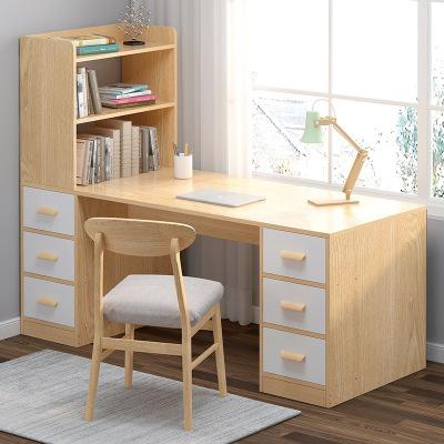 弘拜 電腦桌書桌書架組合 簡約學習桌 家用辦公桌 電腦臺式桌家用臥室書柜一體學生轉角桌子