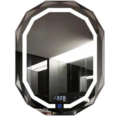 法蘭棋無框鉆石邊橢圓形浴室鏡子衛生間掛墻LED智能觸摸屏帶時間發光衛浴鏡子壁掛燈鏡浴室鏡