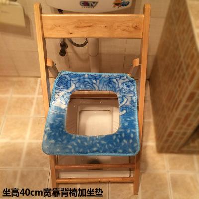 折疊便攜老人實木坐便椅孕婦坐便凳子座便器馬桶櫈黎衛士廁所凳大便 免安裝40高寬靠背椅加坐墊