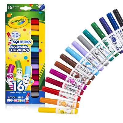 繪兒樂(Crayola)16色可水洗短桿粗桿水筆 繪畫工具 彩筆畫畫筆 繪畫涂色筆 58-8703