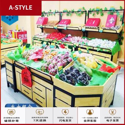 超市水果货架展示架组合水果架子水果店钢木货架果蔬货架创意多层A-STYLE