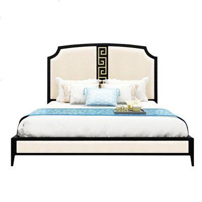 枳记家 新中式实木床酒店简约布艺床样板房禅意中式双人床高箱床家具定制