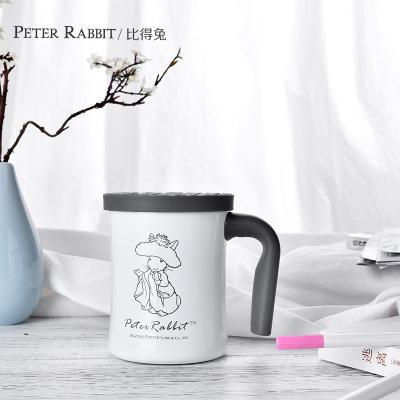 比得兔(Peter Rabbit) 办公室水杯304不锈钢创意马克杯茶杯带盖咖啡杯杯子 白色