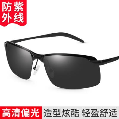 趣行 太陽鏡駕駛墨鏡男士眼鏡 防紫外線釣魚潮人騎行偏光眼鏡 防遠光開車專用 半框黑色