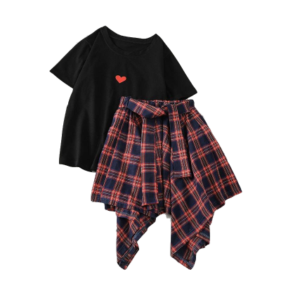 2019单件/套装格子半身裙两件套夏装新款短袖T恤不规则高腰裙套装女 臻依缘