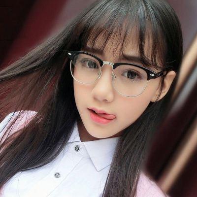 防蓝光抗辐射眼镜男女潮电脑手机护目镜无度数近视半框学生眼镜框 眼镜盒+眼镜布 砂黑-银框【防蓝光】