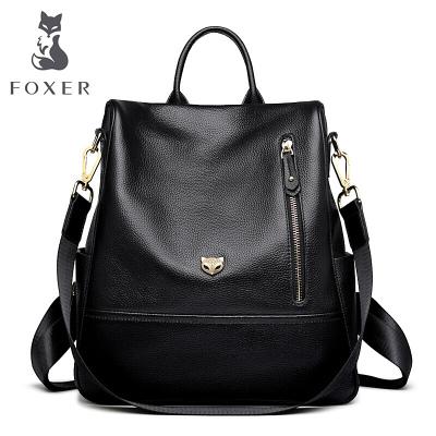 金狐貍FOXER頭層牛皮雙肩包女軟皮韓版學院風防盜背包新款時尚百搭