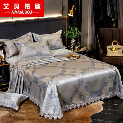 艾瑪諾歐家紡 加厚蕾絲提花可水洗冰絲席三件套 床單款涼枕涼席1.8m1.5米床席子印花冰絲軟席單雙人夏涼席套件
