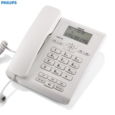 飛利浦(Philips)CORD108普通家用/辦公話機/來電顯示/有繩話機/固定電話機座機(白色)